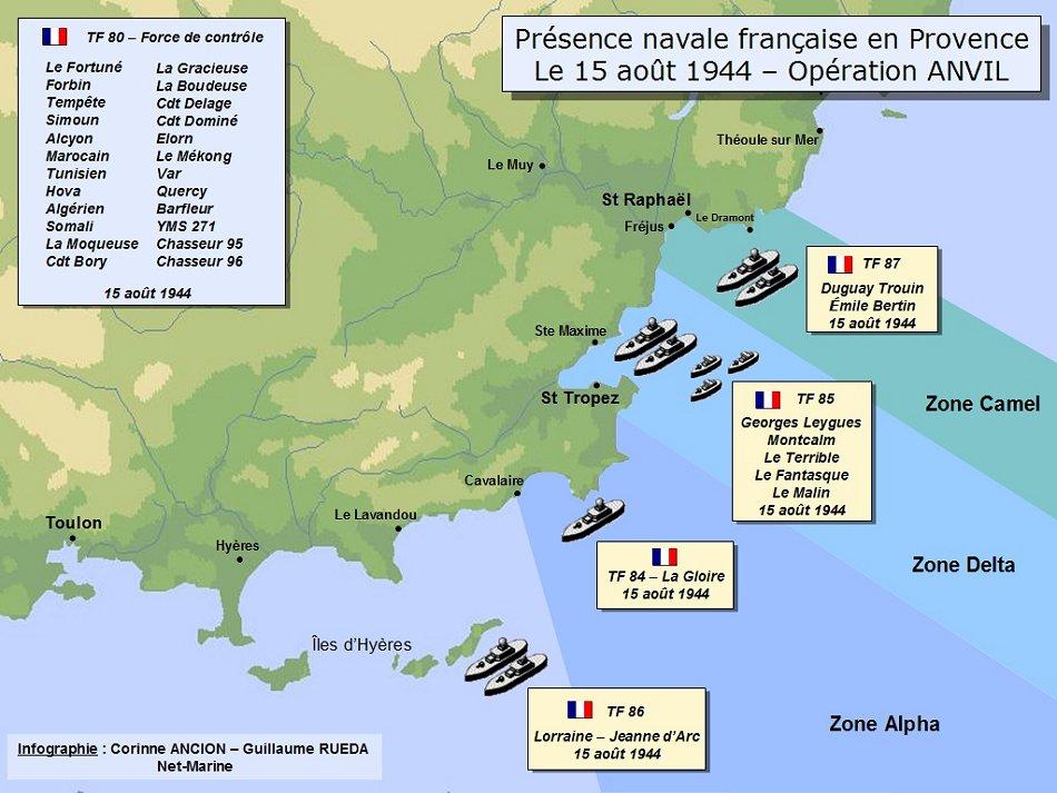 15 août 1944 carte Débarquement en Provence